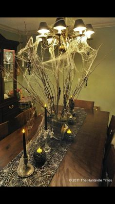 Halloween decorating table