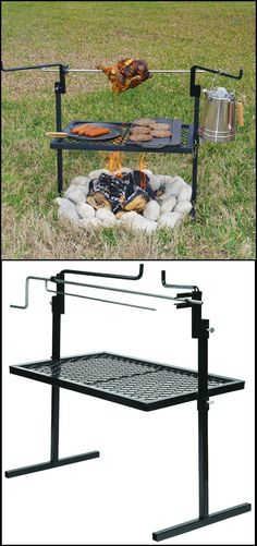 "http://amzn.to/1YSTSGe Looking for a nice camping grill that's easy to bring on your outdoor adventures? Then you have to try this stainless steel rotisserie spit and grill.   Its rotisserie spit that turns and locks in four positions, to give you that delicious slow-roasted flavour in your food. It has a height-adjustable 24"" x 16"" grilling surface and a similarly height-adjustable stainless steel rotisserie spit. It also includes two steel side arms to keep potted food warm."
