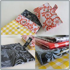 Cute little card wallets made from scraps of oilcloth.