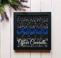 Paper Flowers Discover Police Decor - Police Officer Gift - Police Wife - Flower Shadow Box - Thin Blue Line Gift - Thin Blue Line Decor - Law Enforcement Gift Police Officer Crafts, Police Crafts, Police Wife, State Police, Flower Shadow Box, Diy Shadow Box, Shadow Box Frames, Picture Frame Wreath, Christmas Shadow Boxes