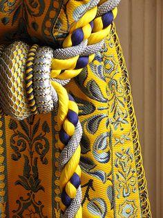 Versailles - Grand Trianon - Curtains - Detail by Dal, via house design room design house design decorating Marie Antoinette, Mellow Yellow, Blue Yellow, Window Coverings, Window Treatments, Textiles, Jules Hardouin Mansart, Chateau Versailles, Trianon Versailles