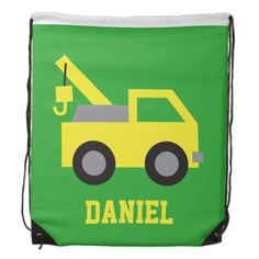 Cute Yellow Tow Truck Vehicle for Boys Cinch Bag