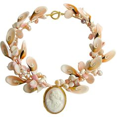 A Shell Of An Idea III Necklace Antique Angel Skin Coral Cameo ❤ liked on Polyvore featuring jewelry, necklaces, accessories, gioielli, pink shell necklace, cameo necklace, pink bead necklace, antique jewelry and shell necklace