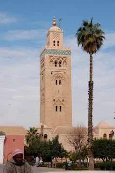 Koutoubia Mosque with palm tree | by jo mclure