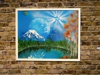 "Title ""FUJI""  Spray paint art work original  520mm×425mm Artist TOMOYA"