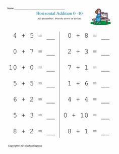 Best School Maths Sheets Images  Math Activities Mathematics  Math Worksheets Free Addition Worksheets Story Problems Horizontal   Kindergarten Addition