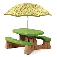 Kids Step2 Picnic Table With Umbrella Naturally Playful Kids Outdoor Table  NEW