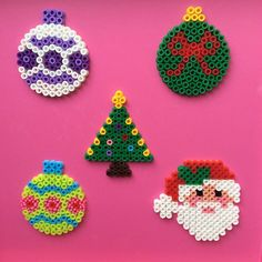 Christmas decorations hama perler beads by kreajoan