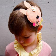 Girls Hair band felt bunny fascinator kids hair accessory pale Pink Rabbit. By JessQuinnSmallArt