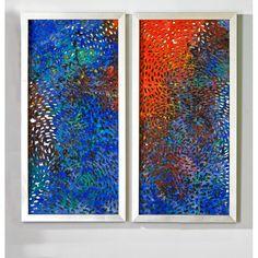 """Bild """"Holi"""" aus Holz, Papier und Glas - 2er-Set  silber   orange  blau mit dünnem, silbernem Rahmen innen mit mehreren bunten Papier-Ebenen und silber spiegelndem Hintergrund vierseitig hängbar zwei verschiedene Motive im 2er-Set"""