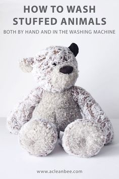 Learn how to wash stuffed animals both by hand and in your washing machine. Sanitize your child's favorite stuffed animal no matter what fabric or material it is made of.     #cleantoys #kidscleaningtips #toddlercleaningtips #cleaningtips via @acleanbee