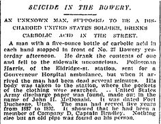 """37 Bowery. """"Soldier Drinks Acid in the Street."""" December 9, 1895"""