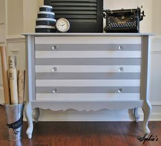 Sophia's: Paris Grey & Pure White Chalk Paint® decorative paint Striped Dresser