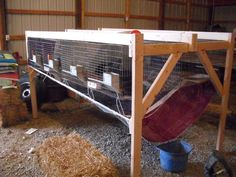New plan for rabbit manure collection.  May use some pelleted shavings to help absorb urine and keep the place smelling fresh.  Will dump manure buckets weekly, saving us a couple of hours a week!