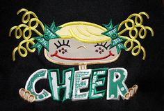 Pigtail girl CHEER appliqued canvas tote by KenaKreations on Etsy, $27.00
