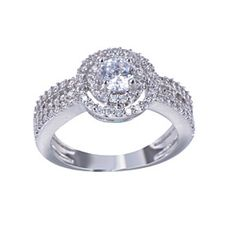 Love Struck Diamond Crystals Platinium Plated Halo Ring by Evabella Collections on Opensky