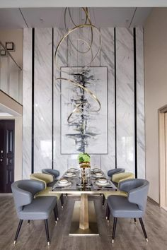 Trendy dining tables that elevate your home decor to higher grounds? There you go! #diningtables #moderndiningtables #contemporarydiningtables Luxury Dining Room, Dining Room Lighting, Dining Room Design, Room Interior Design, Interior Styling, Modern Dining Rooms, Interior Modern, Modern Luxury, Dinner Room