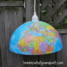 Globe turned into light fixture from Home is What You Make It. Great for a teachers gift.