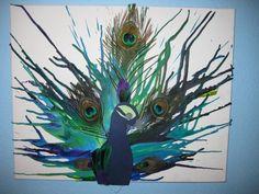 melted crayon art | Peacock Melted Crayon Art | Peacocks!
