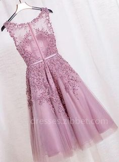A-line Scoop Knee-length Purple Zipper-up Organza Organza Bridesmaid Dress, Organza Dress, Short Prom, Tea Length, Lace Applique, Homecoming Dresses, Ball Gowns, Formal Dresses, Sweet 16