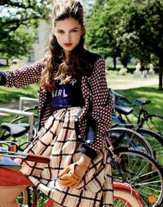Clashing Academic Editorials - The Girls in America Editorial for Elle France is Pattern Crazy (GALLERY) #bike #style