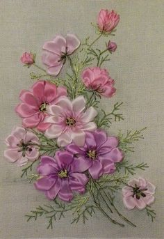 silk ribbon embroidery how to Ribbon Embroidery Tutorial, Flower Embroidery Designs, Hand Embroidery Stitches, Silk Ribbon Embroidery, Embroidery Kits, Cross Stitch Embroidery, Machine Embroidery, Ribbon Art, Ribbon Crafts