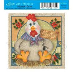Papel para Arte Francesa 10 x 10cm -  AFX271 - Galinha Lenço