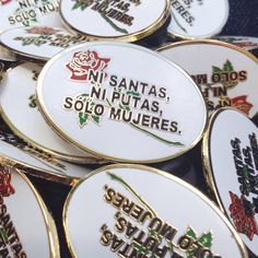 NI SANTAS, NI PUTAS, SÓLO MUJERES NOT SAINTS, NOT WHORES, JUST WOMEN  - 10% of the proceeds of this pin are donated to vday.org, an organization working to end violence against women and girls. 93% of funding goes to their programs active in over 80 countries.  Do not let them define you. Do not let the patriarchy get you down. You do not fit into a box. lapel pin based off my design, using a classic latin fem phrase, originally made for these totes - https://www.etsy.com/listi...