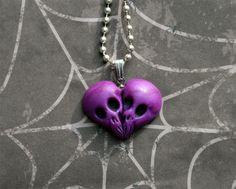 Purple skull heart, polymer clay pendant , Till Death Do Us part. $20.00, via Etsy.