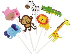 kapoklife Animal Party Banner with Cute Zoo Animal Cupcake Toppers Picks,Jungle Animals Cake Toppers for Kids Baby Shower Birthday Party Cake Decoration Supplies Zoo Cupcakes, Zoo Animal Cupcakes, Animal Snacks, Super Cute Animals, Jungle Theme, Animal Birthday, Jungle Animals, Animal Party, Cupcake Toppers