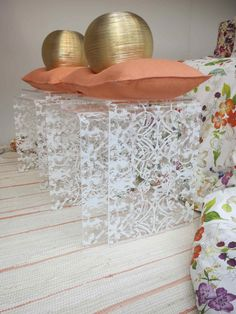Don't like the rest of the decor but love the delicate pattern in the tables