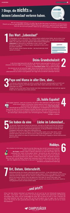 Infografik: Diese 7 Fehler solltest du in deinem Lebenslauf vermeiden The Effective Pictures We Offer You About career options A quality picture can tell you many things. You can find the most beautif Cv Inspiration, Thats The Way, New Job, Things To Know, Personal Branding, Better Life, Good To Know, Life Hacks, Told You So