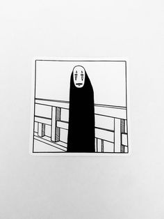 spirited away no face sticker, studio ghibli sticker, anime stickers Art Studio Ghibli, Studio Ghibli Tattoo, Anime Stickers, Face Stickers, Black And White Drawing, White Art, Spirited Away Tattoo, Black And White Stickers, Black And White Aesthetic