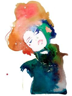 Fashion Illustration Print of Watercolor Fashion Illustration. Titled: Model ink - Archival Prints of Modelink 5 Watercolor illustration. Art And Illustration, Watercolor Illustration, Watercolor Paintings, Painting Prints, Illustration Fashion, Fashion Illustrations, Watercolors, Painting Art, Watercolor Artists