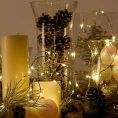 These battery-operated light strands make holiday centerpieces easy!