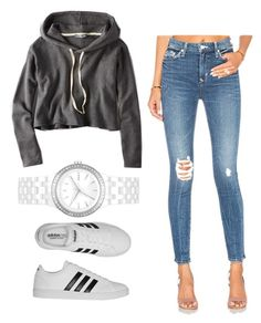 """""""Casual look for everyday #adidas #grey #hoodie #jean #white #watch"""" by cydney-winters on Polyvore featuring American Eagle Outfitters, Lovers + Friends, adidas and DKNY"""