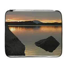 Maine Nature and Nostalgia: Laptop Case For Sale                   showing Jo Mary Mountain peekin out at sunset taken from North Twin Lake area.