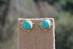 Peach Roots - Dome Turquoise with Gold Hammered Trim Earrings, $12.50 (http://peachroots.com/dome-turquoise-with-gold-hammered-trim-earrings/)