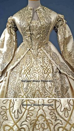 Wedding dress, British (?), ca. 1862. Three pieces (bodice, jacket, skirt) in ivory silk satin with application of two types of braid inspired by the Renaissance. Galleria del Costume di Palazzo Pitti via Europeana Fashion