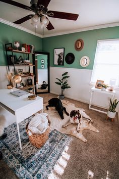 Cute and creative home office ideas and inspiration - layered rugs, hats #homeoffice #workfromhome Office Ideas, Office Decor, Home Office, Cow Photos, Blogger Home, Mirror With Shelf, Just Shop, Fall Scents, Office Makeover