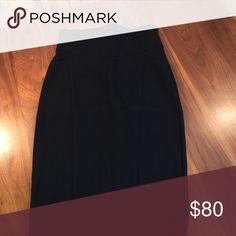 "Diane Von Furstenberg Pencil Skirt Black Ponte knit skirt. Side zip. High waisted with decorative stitching. 13.5"" across waistband. 25"" length. 17"" across hips.  Runs slightly small IMO. Diane von Furstenberg Skirts Pencil"
