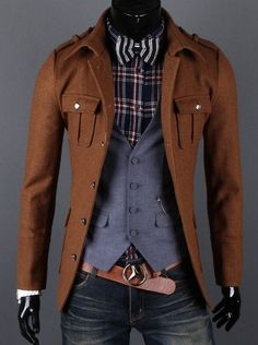 2012 autumn winter fashion casual black brown Men's Lapel slim long sleeve wool trench/coats