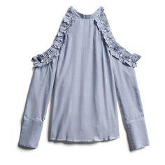 Stitch Fix Fall Stylist Picks: Cold Shoulder Ruffled Blouse