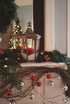 Love the grapevine wreath she used first for Thanksgiving and then incorporated into her Christmas mantel.  (Dont you hate having a short decorating season for fall and changing out for Christmas so soon?)  She mentioned difficulty stretching the grapevine out of the wreath shape - wouldnt soaking it in water first help that?
