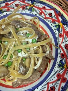 Ribeye Fettuccine with Mushrooms and Goat Cheese