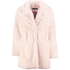 Boohoo Boutique Brooke Faux Fur Coat | Boohoo (€105) ❤ liked on Polyvore featuring outerwear, coats, pink puffer coat, mac coat, pink faux fur coat, puffy coat and rain coat