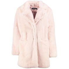 Boohoo Boutique Brooke Faux Fur Coat | Boohoo ($110) ❤ liked on Polyvore featuring outerwear, coats, faux fur coat, rain coat, bomber coat, longline duster coat and pink faux fur coat