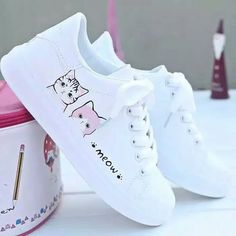 Dont forget to slide! Happy to good shopping! Cute Sneakers, Shoes Sneakers, Sneakers Fashion, Fashion Shoes, Kawaii Shoes, Shoes Heels Wedges, Shoe Art, White Shoes, Shoe Collection