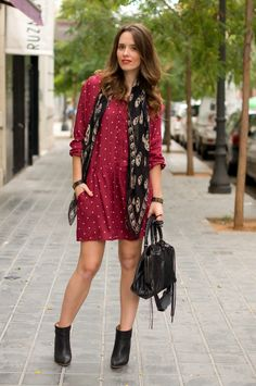 #fashion #fashionista @macarena gea photo 1-burgundy_dots_dress-balenciaga_bag-skull_mcqueen_scarf-street_style_zps18c5a67a.jpg