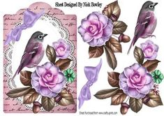 Pretty wild summer roses on lace with pink bird and script on Craftsuprint - Add To Basket!